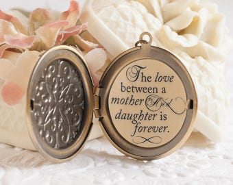 Mother Daughter Necklace The love between a mother and daughter is forever Quote Necklace Embossed Locket Gift for Mom Mother of the Bride