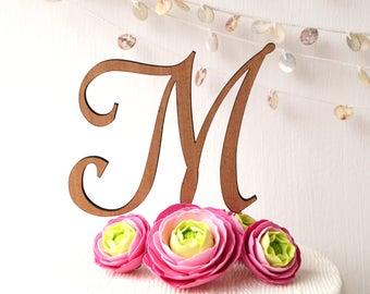Monogram wedding cake topper, cake topper, wedding cake topper, rustic cake topper, wooden cake topper, single letter cake topper