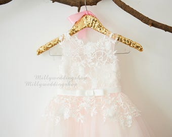 Ivory Lace Light Pink Tulle Flower Girl Dress Wedding Bridesmaid Dress with Bow Belt  M0067