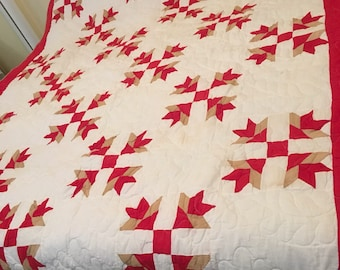 Vintage red and white feedsack quilt in twin - full size