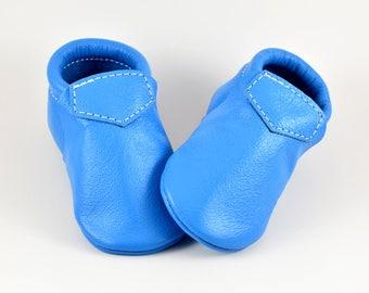Baby Moccasins Fringeless Cool Ultra Light Blue Lokicks Genuine Leather Toddler Newborn Boy Girl Handmade Soft Soled Shoes Prewalker Loafers