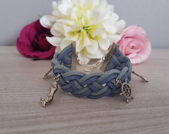 "Bracelet ""Two-tone suede""Bracelet""Braid"" dual color"