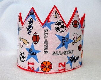 Sports Birthday Crown, Felt Birthday Crown, 1st Birthday Crown, Boys Birthday Hat, Kids Birthday Crown, Birthday Crown, Kids Crown