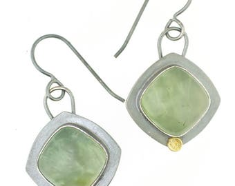 Prehnite Green Cushion Cut Dot Dangle Earrings