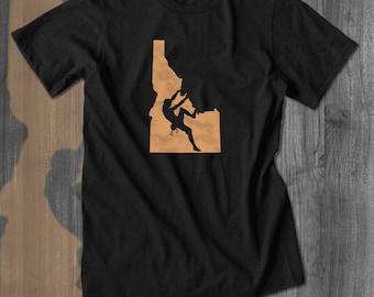 Idaho Rock Climbing T-Shirt Belay Approach Tshirt Bouldering T shirt Rock Climbing Tee Climbing Shirt handmade custom made my state shirt