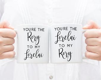 The Rory to My Lorelai Mug Set, BFF Mug Set, The Rory to my Lorelai, Bookish Mug, Reading Mug, Floral Mug, Gifts for Mom, Funny TV Show Mugs