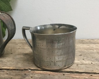 Antique Silver Plate Child's Baby Cup Tudor Plate Oneida Community  Primitive Cottage Chic Farmhouse Little Tommy Tucker Engraved Baby Gift