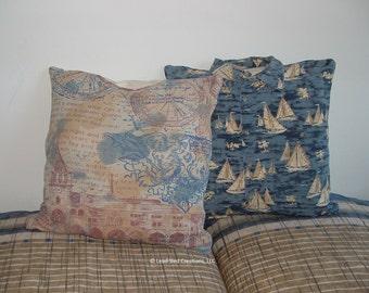 Sailboat Yacht Sailors Original Artistic Throw Pillow Cover Assemblage Fabric Art - Set of 2