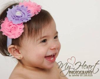 Pink & Lavender Headband, Easter Headband, Lavender Baby Headband, Baby Headband, Baby Girl Headband, Infant Headband, Newborn Headband