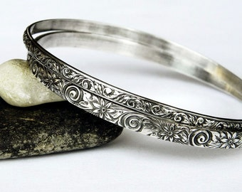 Ornate Sterling Silver Floral Bangles, Set of Two Bangles, Silver Bangle Set, Handmade Solid Sterling Bangle Bracelet Set - Stacking Bangles
