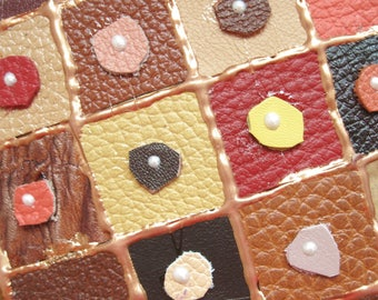 Original leather ACEO - Miniature - Leather mini art - Art and Collectables -2.5 x 3.5 inches - Genuine leather + acrylic - Small Format Art