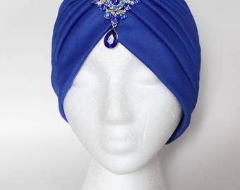 Turban Cap, Blue Turban, Turban Cap, Turban Headwrap, Chemo headwrap, Hairloss Cap, Hairloss Headwrap, Chemo Hat, Chemo Scarf