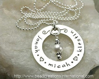 Personalized Mommy Hand Stamped Sterling Silver Necklace with 3 Names with a Pearl Dangle
