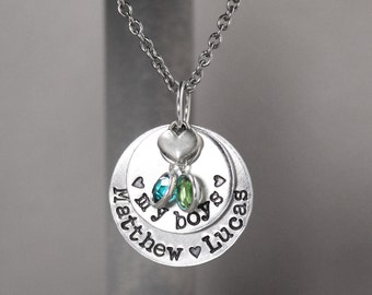 Mother Necklace - Birthstone Necklace - My Boys