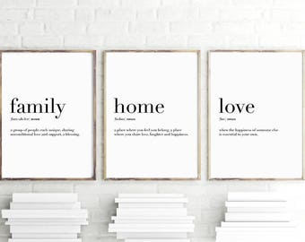 Family Home Love Quote Definition Print, Digital Print Instant Art INSTANT DOWNLOAD Printable Wall Decor
