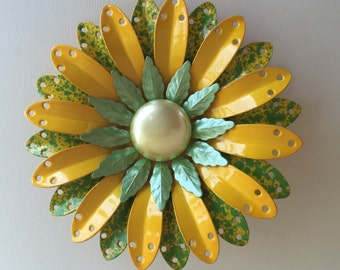Vintage yellow and green flower pin