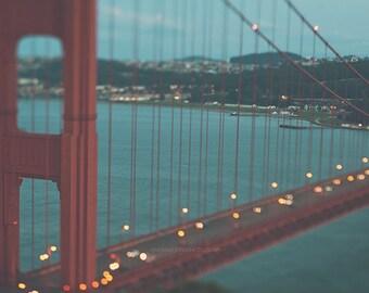 San Francisco photography, bokeh photo, Golden Gate Bridge photograph, dreamy, gold lights, surreal, blue red, abstract, California decor