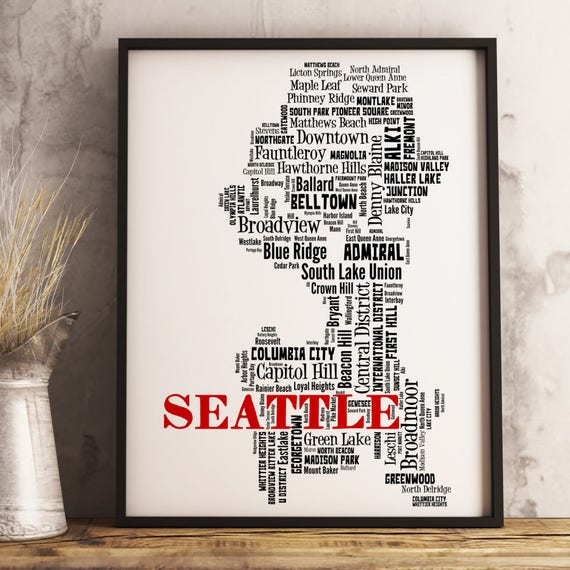 Seattle Map Art Seattle Art Print Seattle Neighborhood Map