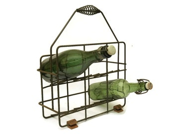 French Wine Bottle Carrier. Vintage Bottle Caddy. Rustic French Décor.
