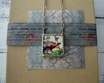 Sale - Broken China Bird Necklace With Twisted Wire Edge Detail