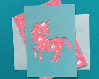 Unicorn blue - stencil & pattern Collection cards
