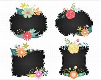 Floral Chalk Frames, Farmhouse, Floral Cluster Frames / Chalk Labels, vintage frames, classic, shabby chic, journal labels, chalk frames,