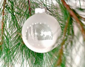 Moose ornament Winter Wonderland ornament Rustic Christmas ornament Painted ornament Winter forest ornament Woodland Christmas ornament