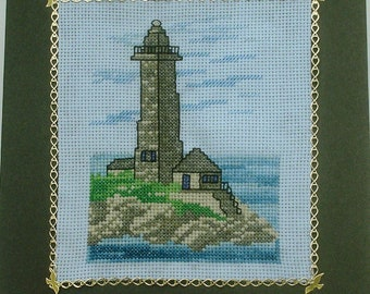 Lighthouse embroidered sea handmade card