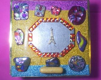 "Eiffel Tower Glitter & ""Cane"" Covered Cigar Box"