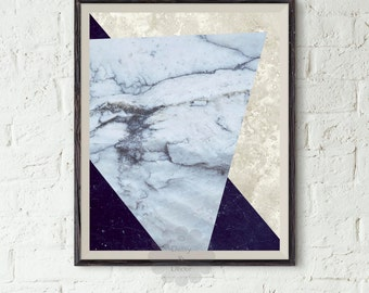 Geometric art print - Abstract Art, Modern Art, Geometric Decor, Triangle Art, Abstract Modern Print, Marble Art Print, White Marble, Poster