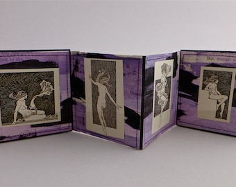Artist's Book, Handmade Book, Accordian Binding, Miniature Artist's Book, Miniature Book