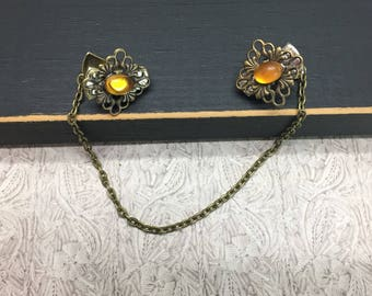 Citron Crystal Vintage sweater clips gold amber November birthstone