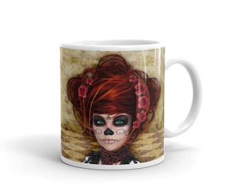 Mug, sugar skull #111, quirky, original, coffee mug, cup, mugsbydeb, gift, mothers day, text, family, novelty, doll, day of the dead,