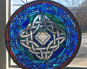 Celtic Knot Stained Glass Panel Sun Catcher Window