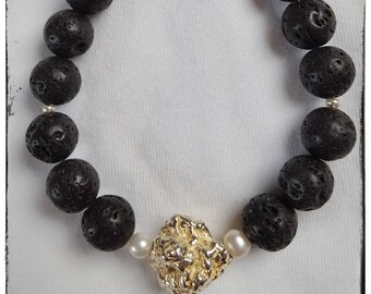 Black lava with silver nugget