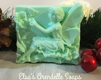 Peppermint Flower Fairy with Butterflies Molded Bar Soap