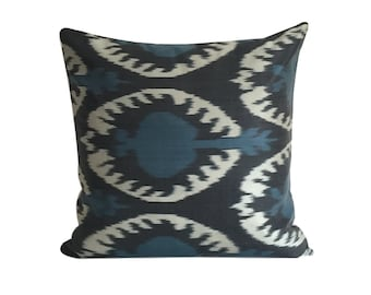 Ikat Cushion Black Blue IKAT Pillow Cover, 50 x 50 cm