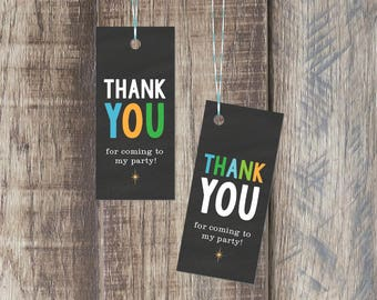 Thank You Tag For Kids Birthday Party, Party Favor Tag, Printable PDF