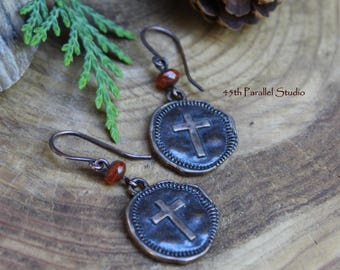 Czech Glass Cross Earrings, Christian Earrings, Religious Jewelry, Christian Gifts, Religious Gifts, Christian Jewelry, Cross Jewelry, Cross