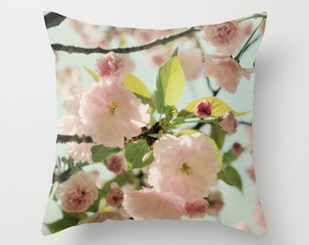Pillow Cover, Cherry blossom Pillow, Pink Flowers Photo Pillow, Nature Throw Pillow, Pink Pillow, Living Room Decor, Bedroom Decor 16x16