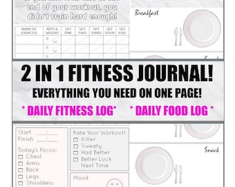 2 in 1 Health and Fitness Journal! EVERYTHING you need on ONE page! Daily Fitness Journal & Daily Food Journal! INSTANT Download! :)