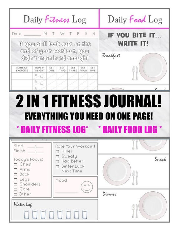 2 in 1 health and fitness journal everything you need on one
