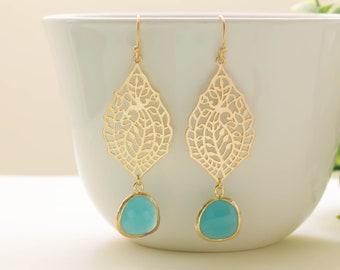 Filigree Earrings. Mint Earrings. Wedding Earrings,Bridal Jewelry. Dangle Earrings.Gold Earrings. Everyday earrings. Gift for Her