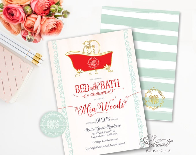 Printable invitations - bridal shower invitation -  bed & bath shower invitation - calligraphy - bath invitation - freshmint paperie