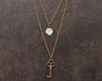 Vintage Skeleton Key & Vintage 1960's Flower Charm Necklace; Vintage Necklace; Key Necklace; Multilayer Necklace