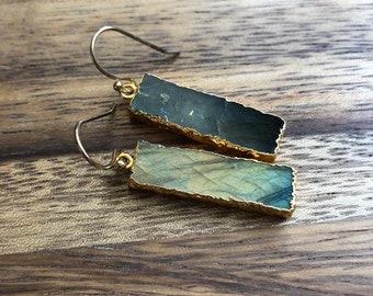 Labradorite Bar Drop Earrings/ Labradorite Slice Drop Dangle Earrings/Labradorite Gemstone Earrings/ Bohemian Simple Cute (EPJ-EAD12-LB)