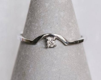 14 kt Gold Diamond Arch Ring