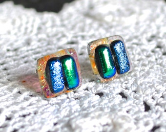 Fused Dichroic Glass on Sterling Silver Post Stud Earrings -Turquoise-Blue-Purple