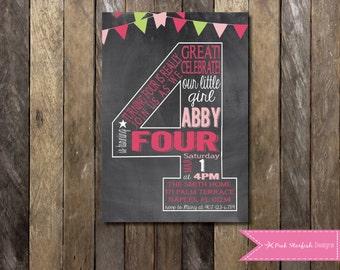 Chalkboard Fourth Birthday Invitation, 4th Birthday Invitation, Chalkboard Invitation, Number Four, Printable Invitation, Chalkboard, Pink