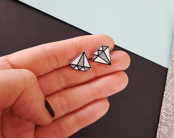 Diamond earrings, handmade jewelry, cute earrings, black and white jewelry, small stud earrings, shrink plastic jewelry, gift for women